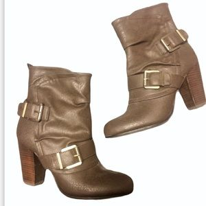 NEW Fergalicious Brown Leather Heeled Booties